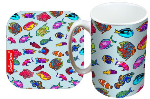 Selina-Jayne Tropical Fish Limited Edition Designer Mug and Coaster Gift Set
